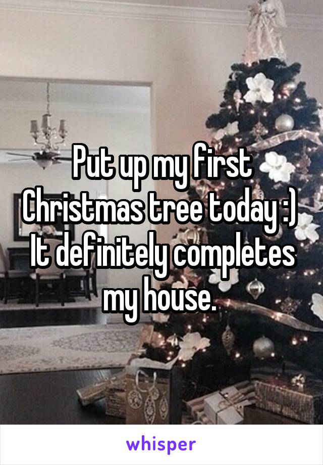 Put up my first Christmas tree today :)  It definitely completes my house.