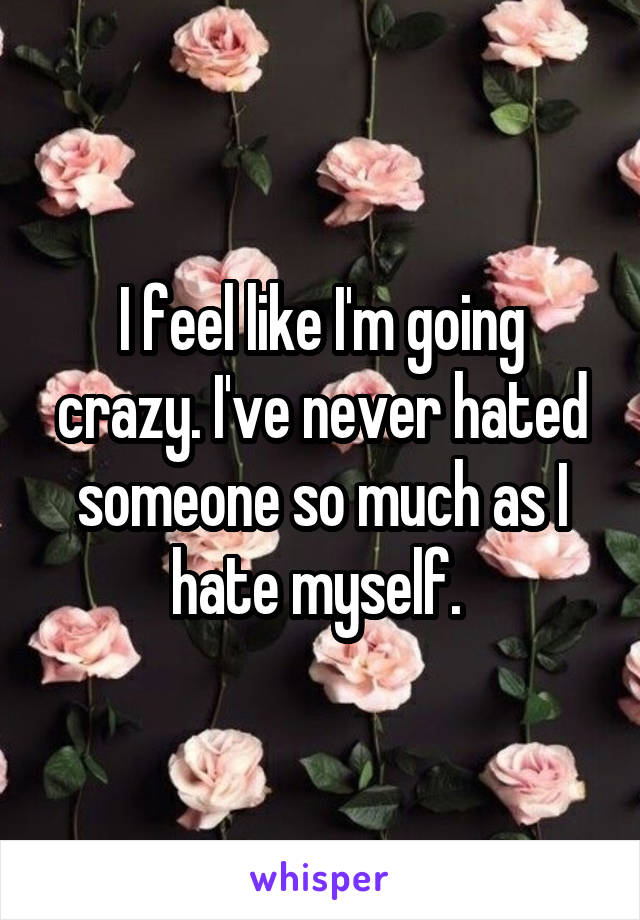 I feel like I'm going crazy. I've never hated someone so much as I hate myself.