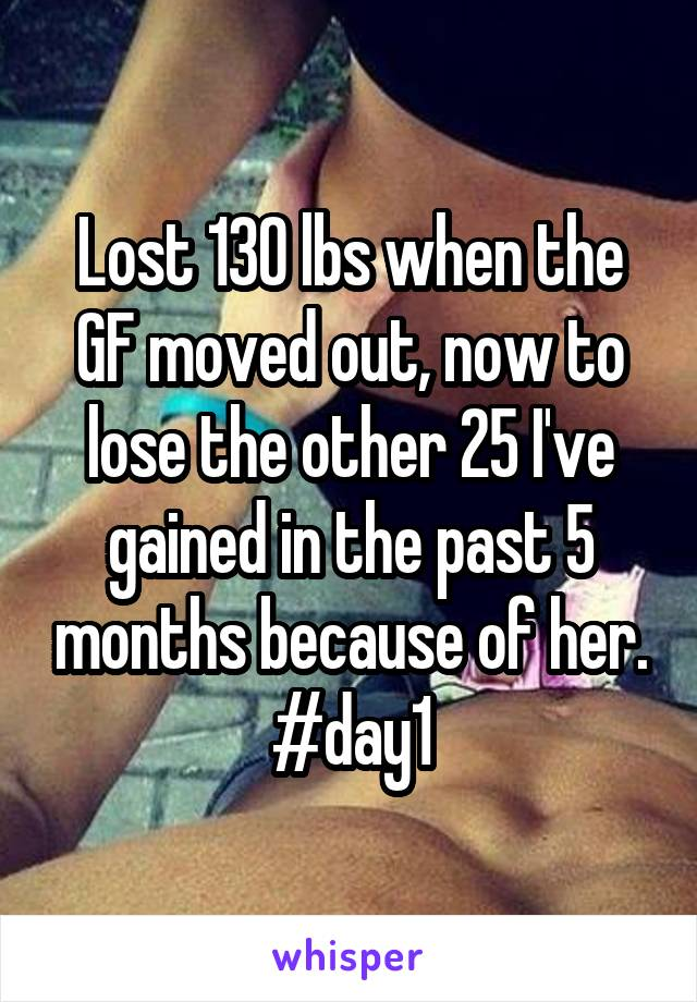 Lost 130 lbs when the GF moved out, now to lose the other 25 I've gained in the past 5 months because of her. #day1
