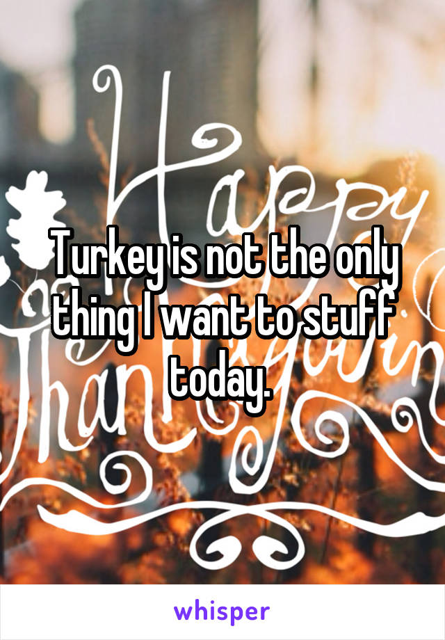 Turkey is not the only thing I want to stuff today.