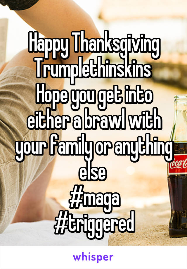 Happy Thanksgiving Trumplethinskins  Hope you get into either a brawl with your family or anything else  #maga #triggered