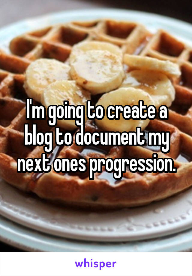 I'm going to create a blog to document my next ones progression.
