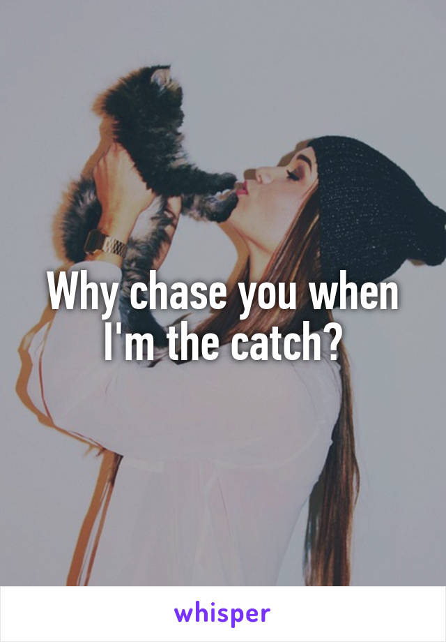 Why chase you when I'm the catch?