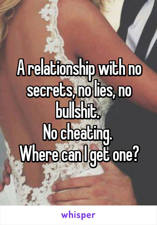 A relationship with no secrets, no lies, no bullshit.  No cheating.  Where can I get one?