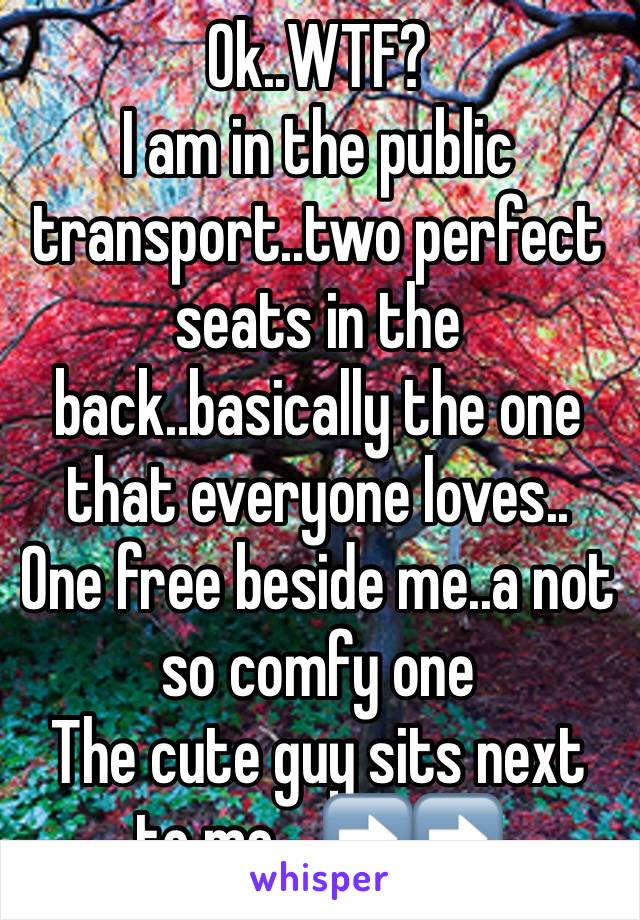 Ok..WTF? I am in the public transport..two perfect seats in the back..basically the one that everyone loves.. One free beside me..a not so comfy one The cute guy sits next to me....➡️➡️