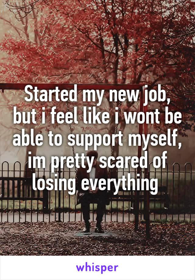Started my new job, but i feel like i wont be able to support myself, im pretty scared of losing everything