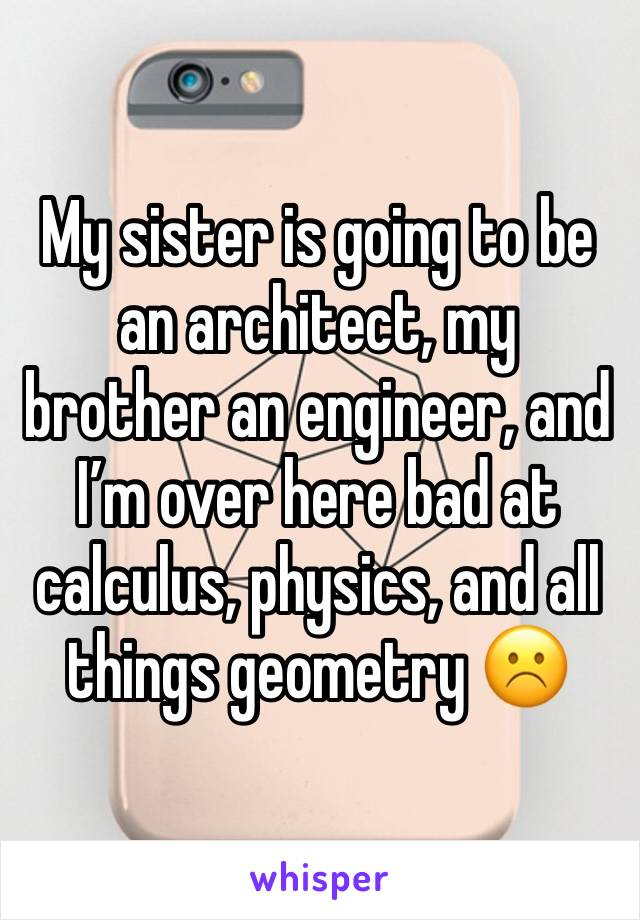 My sister is going to be an architect, my brother an engineer, and I'm over here bad at calculus, physics, and all things geometry ☹️
