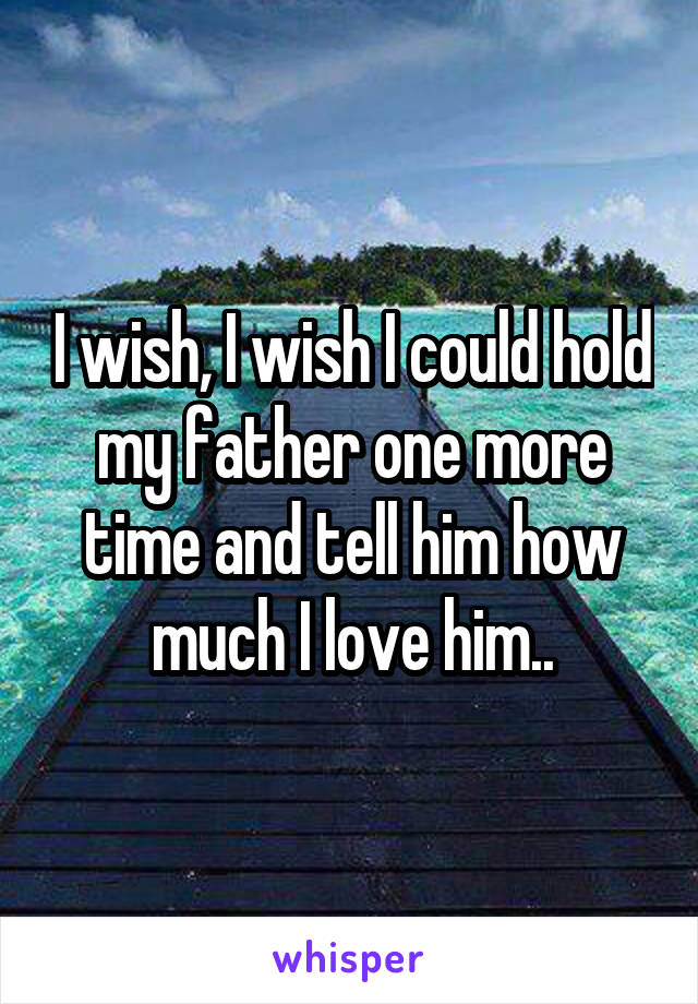 I wish, I wish I could hold my father one more time and tell him how much I love him..