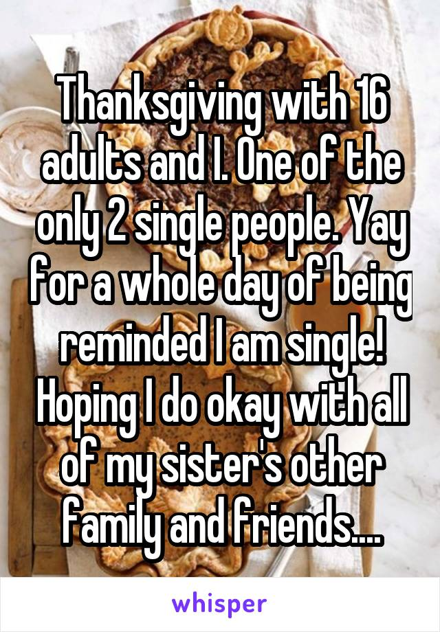Thanksgiving with 16 adults and I. One of the only 2 single people. Yay for a whole day of being reminded I am single! Hoping I do okay with all of my sister's other family and friends....