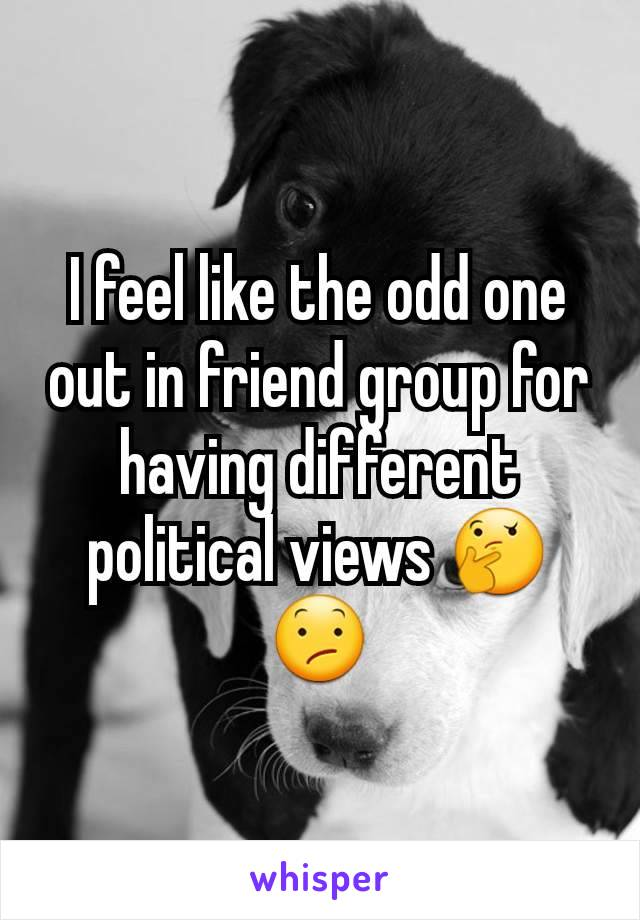 I feel like the odd one out in friend group for having different political views 🤔😕