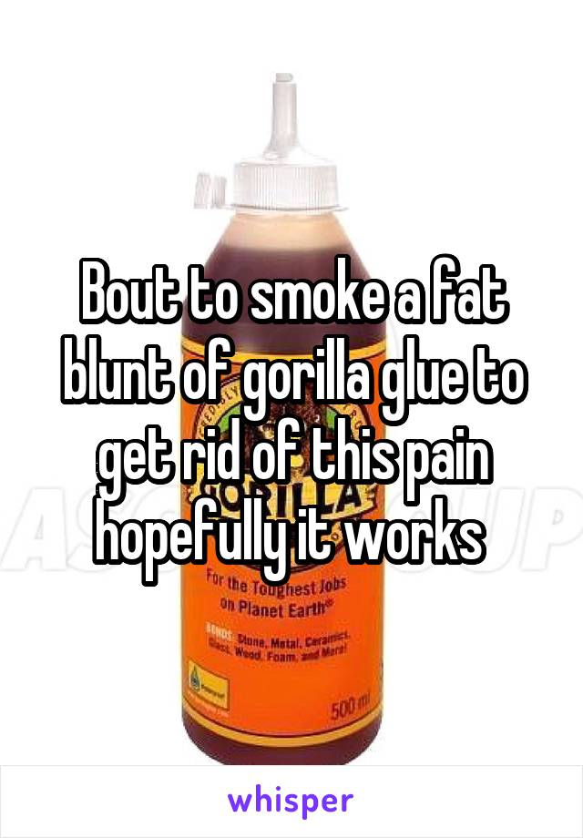 Bout to smoke a fat blunt of gorilla glue to get rid of this pain hopefully it works