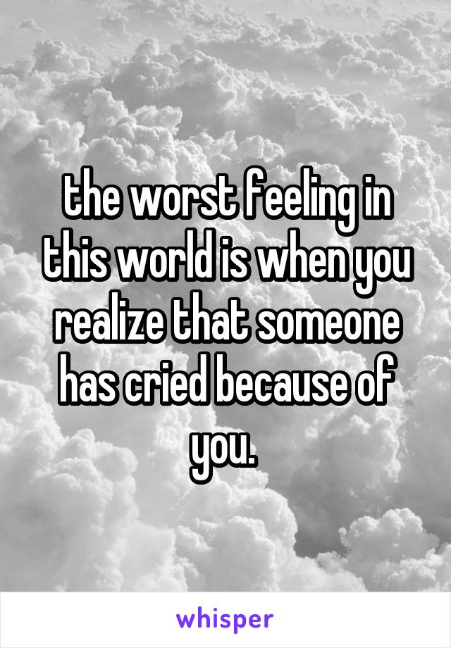 the worst feeling in this world is when you realize that someone has cried because of you.