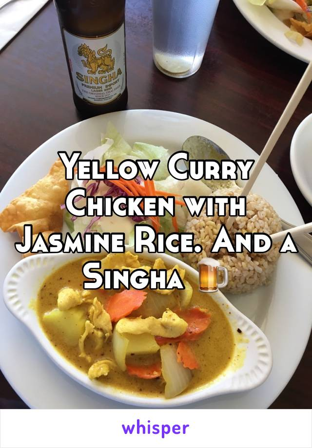 Yellow Curry Chicken with Jasmine Rice. And a Singha 🍺