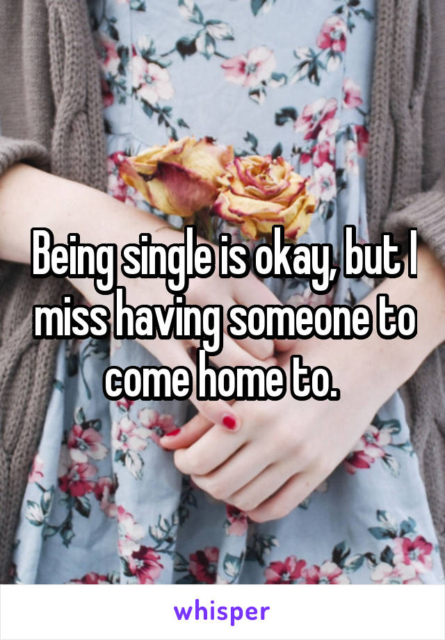 Being single is okay, but I miss having someone to come home to.