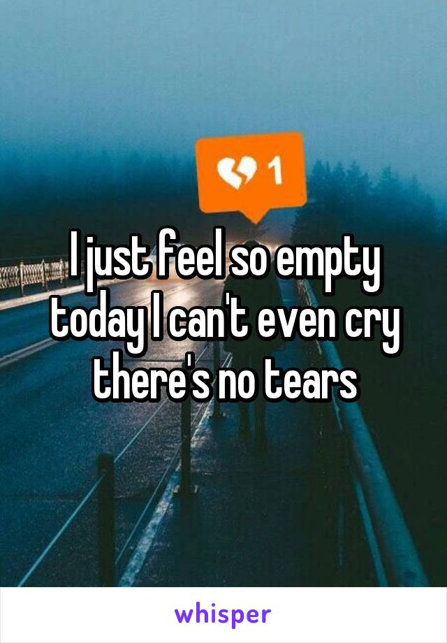 I just feel so empty today I can't even cry there's no tears