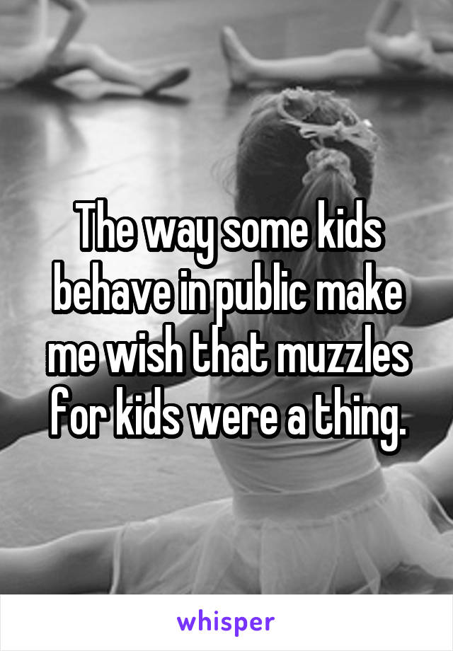 The way some kids behave in public make me wish that muzzles for kids were a thing.