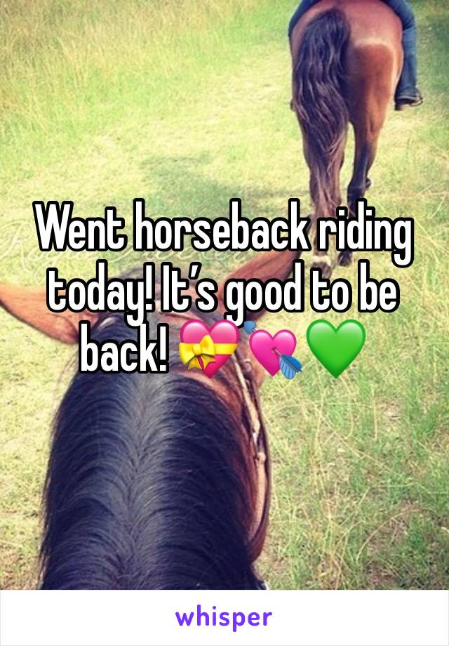 Went horseback riding today! It's good to be back! 💝💘💚