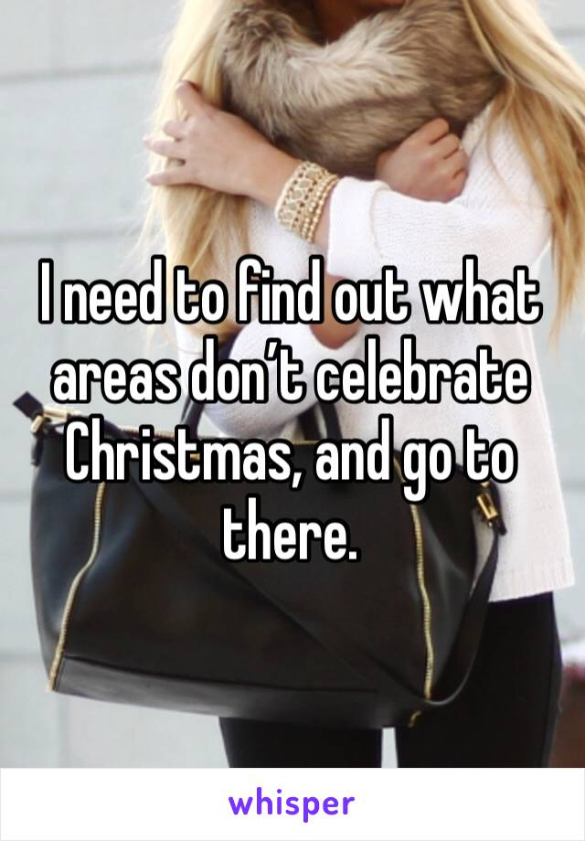 I need to find out what areas don't celebrate Christmas, and go to there.