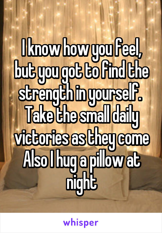 I know how you feel, but you got to find the strength in yourself.  Take the small daily victories as they come Also I hug a pillow at night