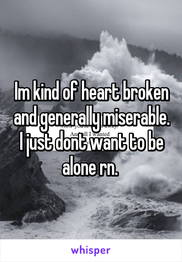 Im kind of heart broken and generally miserable. I just dont want to be alone rn.