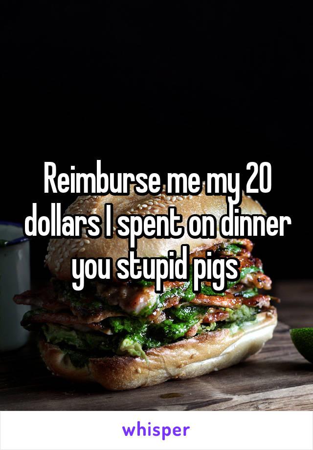Reimburse me my 20 dollars I spent on dinner you stupid pigs