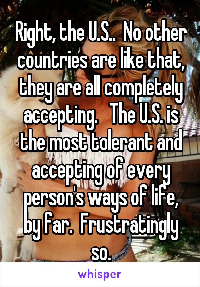 Right, the U.S..  No other countries are like that, they are all completely accepting.   The U.S. is the most tolerant and accepting of every person's ways of life, by far.  Frustratingly so.