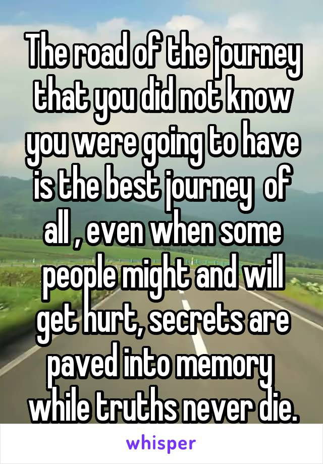 The road of the journey that you did not know you were going to have is the best journey  of all , even when some people might and will get hurt, secrets are paved into memory  while truths never die.