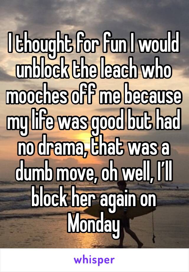 I thought for fun I would unblock the leach who mooches off me because my life was good but had no drama, that was a dumb move, oh well, I'll block her again on Monday