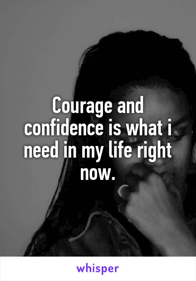 Courage and confidence is what i need in my life right now.
