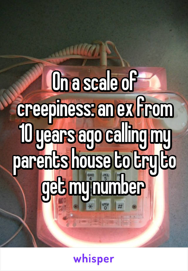 On a scale of creepiness: an ex from 10 years ago calling my parents house to try to get my number