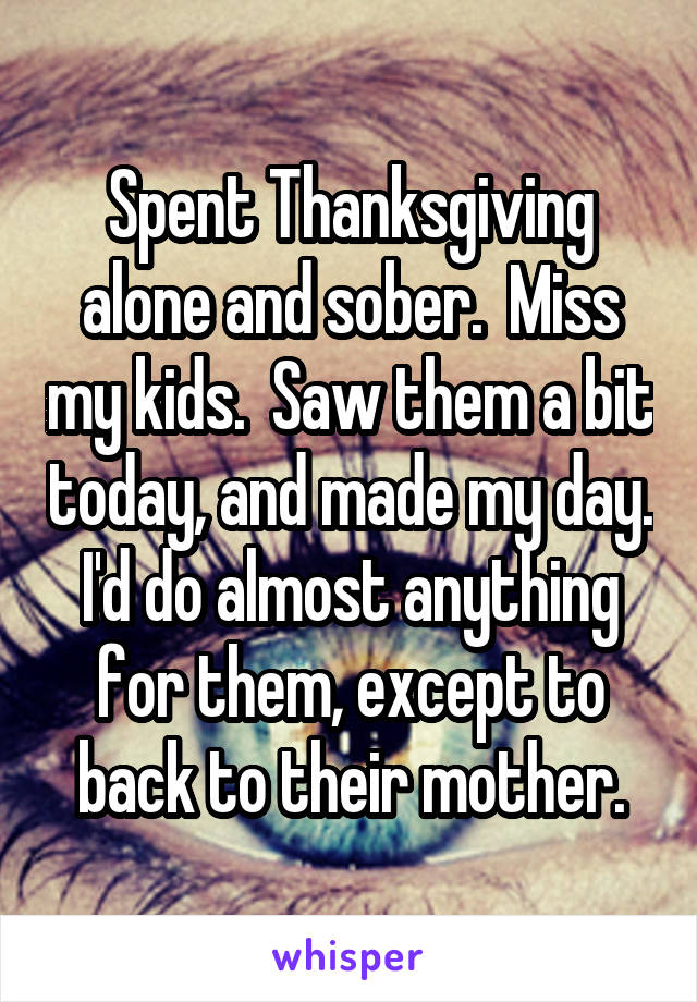 Spent Thanksgiving alone and sober.  Miss my kids.  Saw them a bit today, and made my day. I'd do almost anything for them, except to back to their mother.