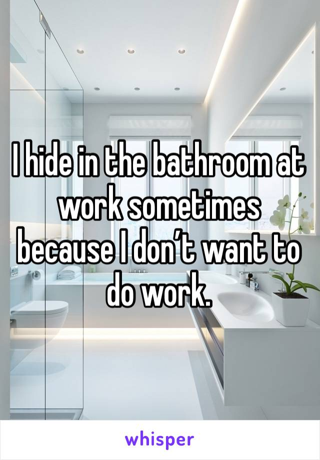 I hide in the bathroom at work sometimes because I don't want to do work.