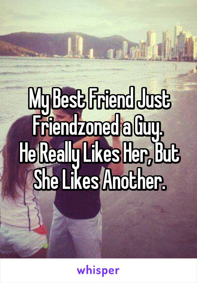 My Best Friend Just Friendzoned a Guy.  He Really Likes Her, But She Likes Another.