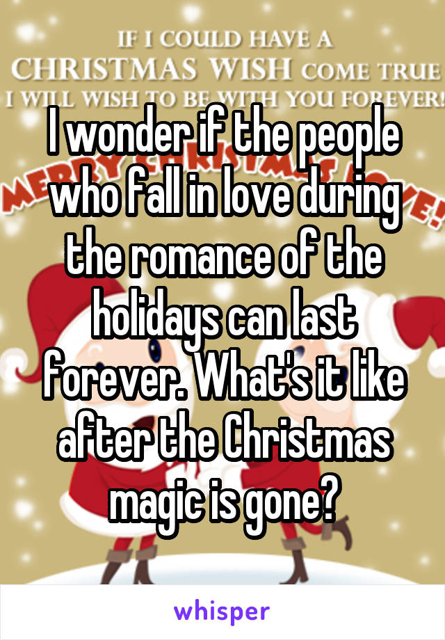 I wonder if the people who fall in love during the romance of the holidays can last forever. What's it like after the Christmas magic is gone?