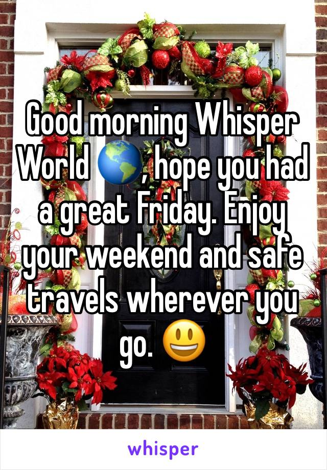 Good morning Whisper World 🌎, hope you had a great Friday. Enjoy your weekend and safe travels wherever you go. 😃