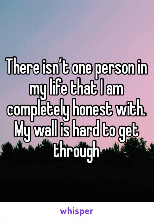 There isn't one person in my life that I am completely honest with. My wall is hard to get through