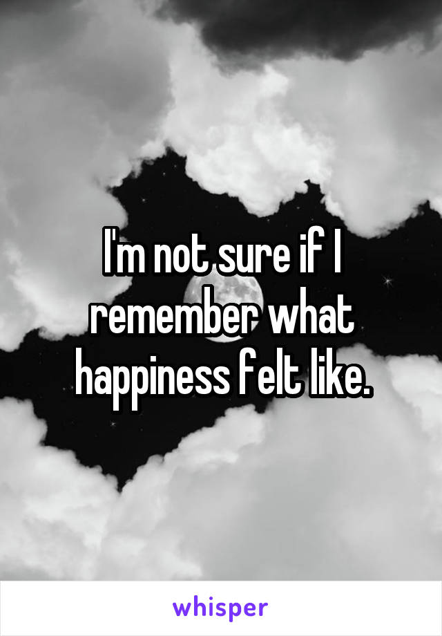I'm not sure if I remember what happiness felt like.