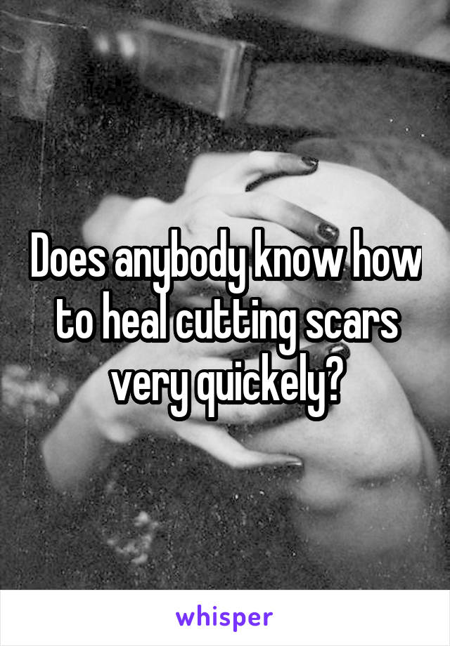 Does anybody know how to heal cutting scars very quickely?