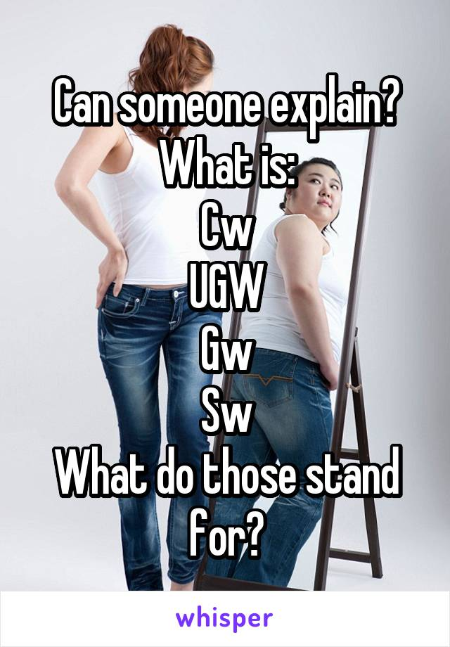 Can someone explain? What is: Cw UGW Gw Sw What do those stand for?