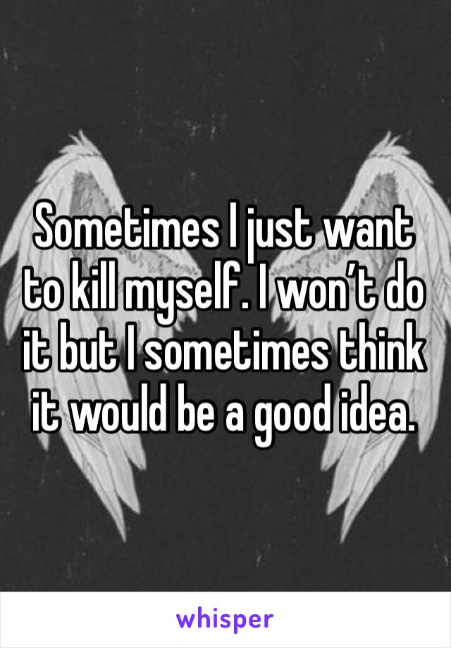 Sometimes I just want to kill myself. I won't do it but I sometimes think it would be a good idea.