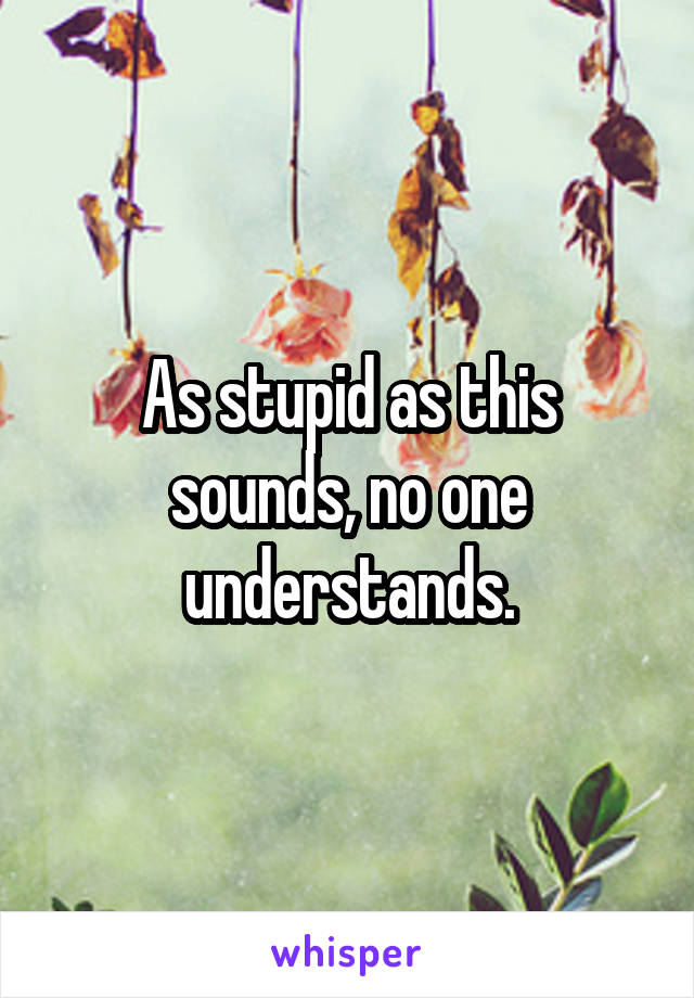 As stupid as this sounds, no one understands.