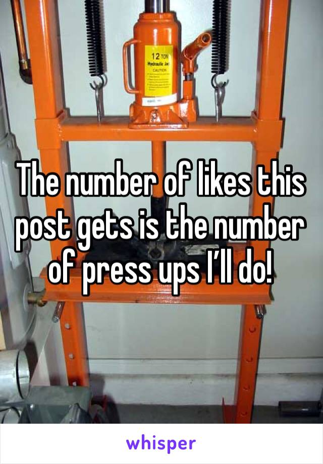 The number of likes this post gets is the number of press ups I'll do!