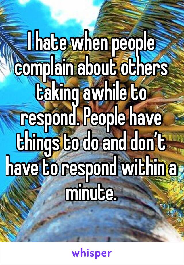 I hate when people complain about others taking awhile to respond. People have things to do and don't have to respond within a minute.