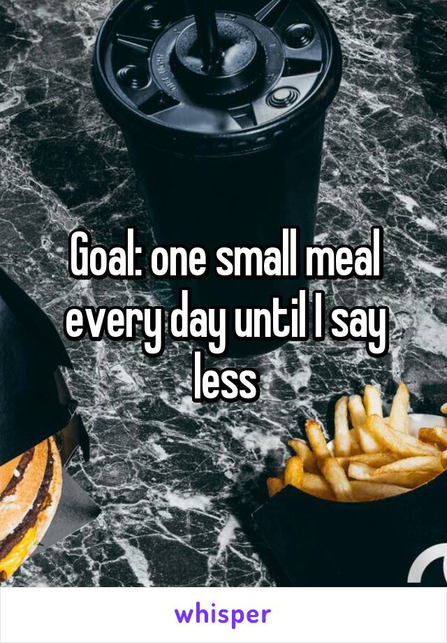 Goal: one small meal every day until I say less