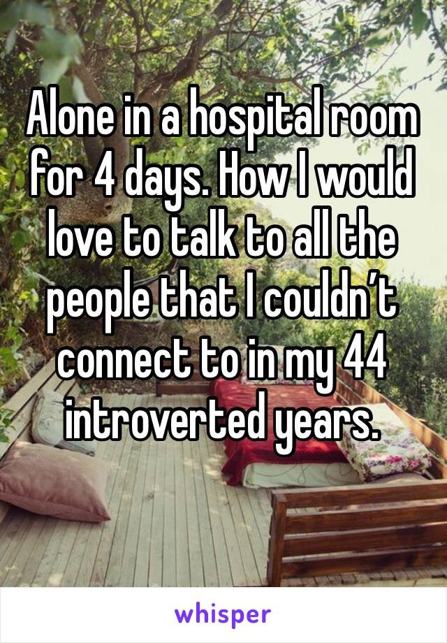 Alone in a hospital room for 4 days. How I would love to talk to all the people that I couldn't connect to in my 44 introverted years.