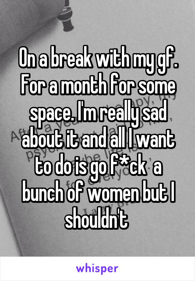 On a break with my gf. For a month for some space. I'm really sad about it and all I want to do is go f*ck  a bunch of women but I shouldn't