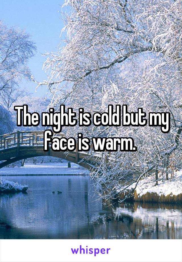 The night is cold but my face is warm.