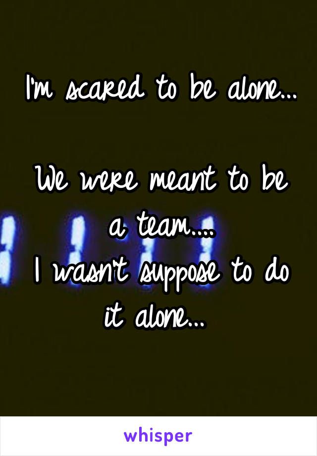 I'm scared to be alone...  We were meant to be a team.... I wasn't suppose to do it alone...
