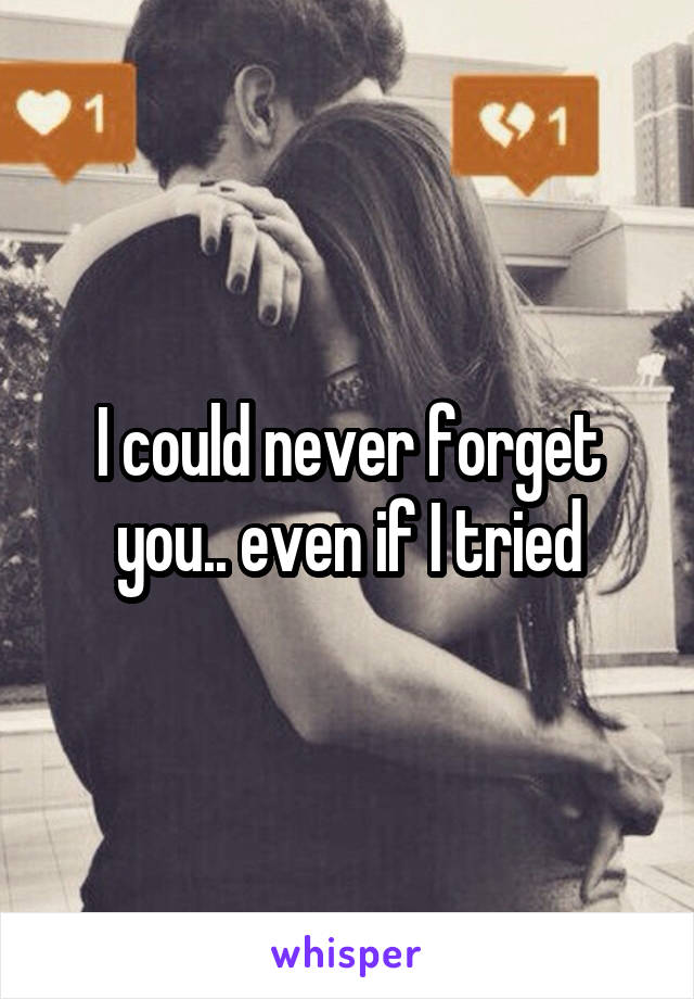 I could never forget you.. even if I tried