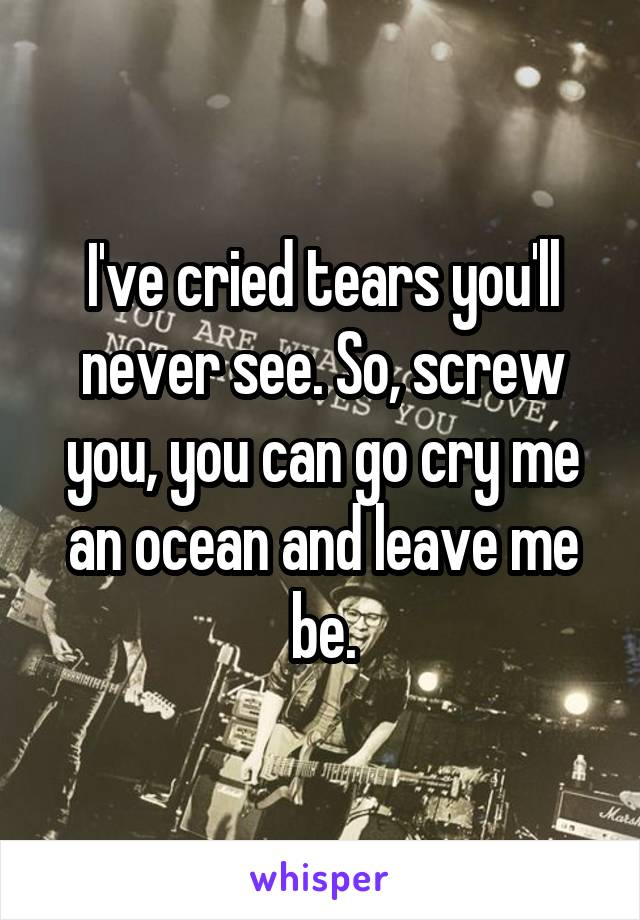 I've cried tears you'll never see. So, screw you, you can go cry me an ocean and leave me be.